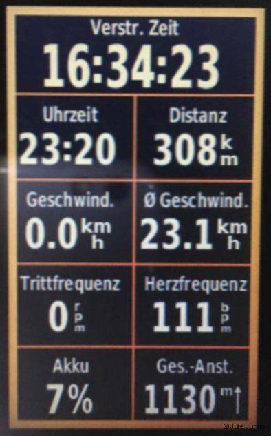 Garmin-Daten für die Tour mit Rennrad um Berlin